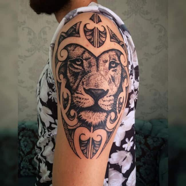 lion on arm